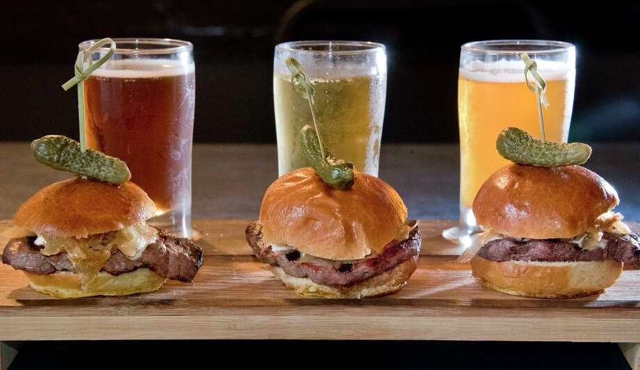 Beef and Brew slider board, filet mignon, caramelized onions, horseradish sauce and three sample beers, at the Sans Souci restaurant on Lake George Wednesday Sept. 12, 2018 in Cleverdale, NY.  (John Carl D'Annibale/Times Union) Photo: John Carl D'Annibale / 20044785A