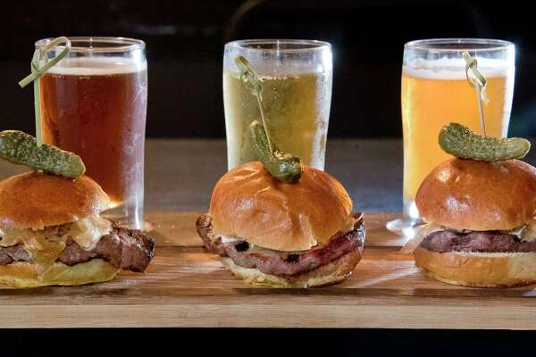 Beef and Brew slider board, filet mignon, caramelized onions, horseradish sauce and three sample beers, at the Sans Souci restaurant on Lake George Wednesday Sept. 12, 2018 in Cleverdale, NY. (John Carl D'Annibale/Times Union)