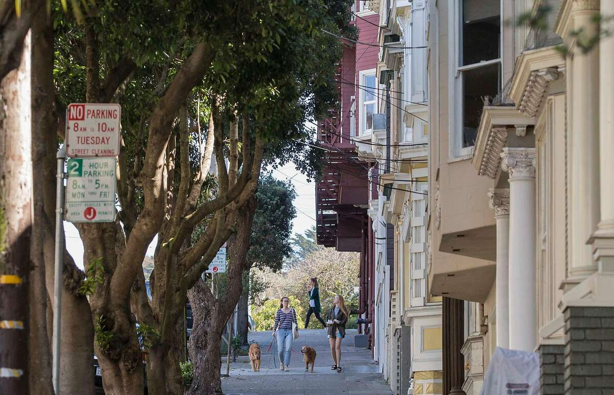Two women walk their dogs down Frederick Street in the Cole Valley neighborhood of San Francisco, Calif. Tuesday, Sept. 18, 2018.