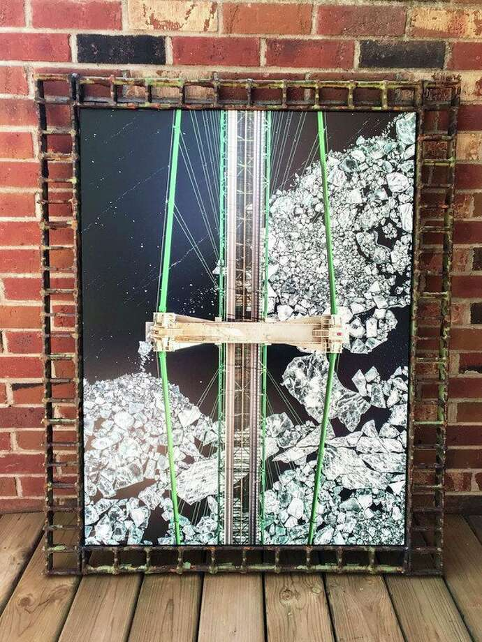 'Don't Look Down' is a piece Bad Axe's Tyler Leipprandt has entered in the ArtPrize international art competition in Grand Rapids. It is a drone photo of the top of the Mackinac Bridge, framed in old grate from the bridge. (Tyler Leipprandt, Michigan Sky Media/For the Tribune)