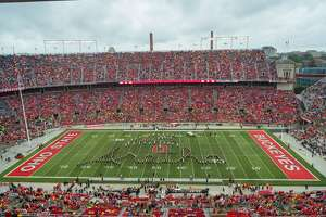 COLUMBUS, OH - SEPTEMBER 08: The Ohio State University marching band paid tribute to the late Aretha Franklin (not pictured) during halftime of a game between the Ohio State Buckeyes and the Rutgers Scarlet Nights on September 08, 2018 at Ohio Stadium in Columbus, Ohio. (Photo by Adam Lacy/Icon Sportswire via Getty Images)