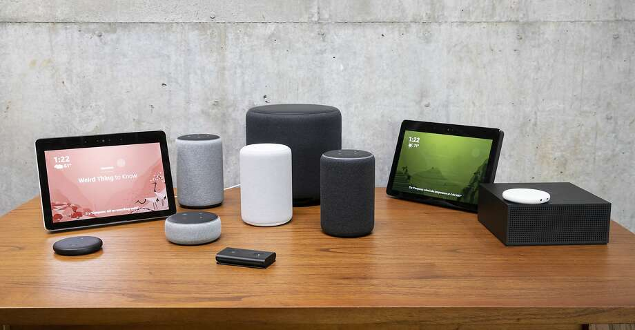 "SEATTLE, WA - SEPTEMBER 20: An assortment of newly launched devices, including, an ""Echo Input,"" ""Echo Show, ""Echo Plus,"" ""Echo Sub,"" ""Echo Auto"" and ""Firetv Recast"" are pictured at Amazon Headquarters, follownig a launch event, on September 20, 2018 in Seattle Washington. Amazon launched more than 70 Alexa-enable products during the event. (Photo by Stephen Brashear/Getty Images) Photo: Stephen Brashear, Getty Images"