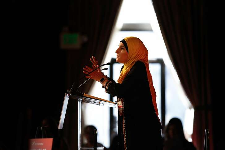 Linda Sarsour, founder of MPower Change; board member Women's March, speaks during the She the People, a national women of color in politics, summit on Thursday, September 20, 2018 in San Francisco, Calif.