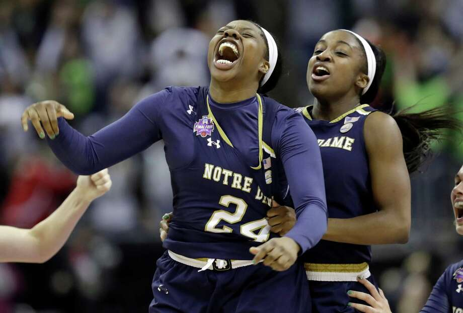UConn will make a trip to face Arike Ogunbowale, left, and defending national champion Notre Dame on Dec. 2. Photo: Associated Press File Photo / Copyright 2018 The Associated Press. All rights reserved.