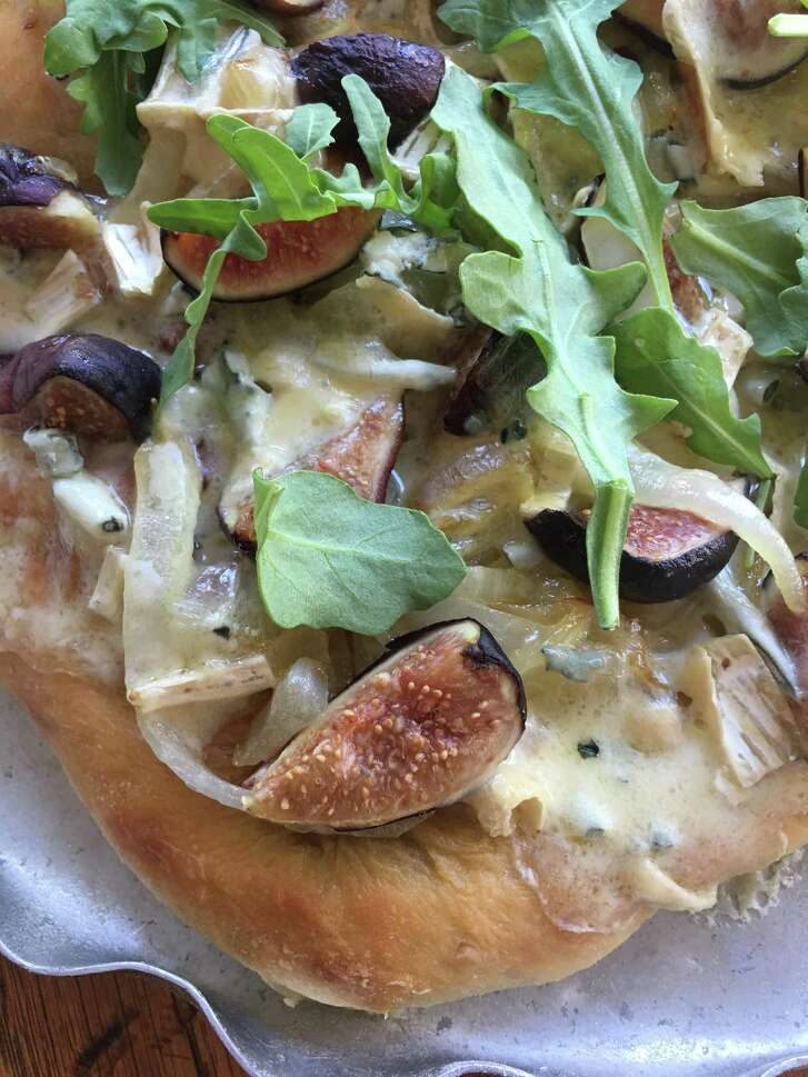 Fig pizza with carmelized onions and Cambozola blue brie.