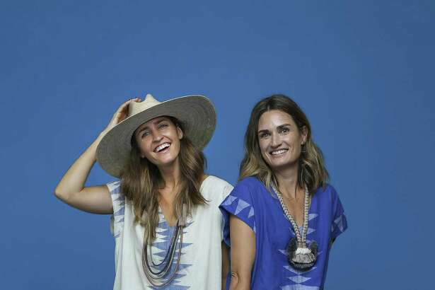 Sisters Katie McClure and Erin Breen model caftans from their Mirth clothing label.
