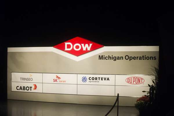 New signage for Dow's Michigan Operations plant is unveiled during an event on Thursday, Sept. 20, 2018 at the Midland Center for the Arts. (Katy Kildee/kkildee@mdn.net)
