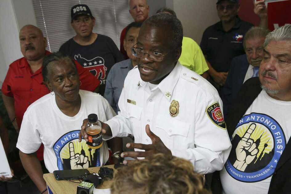 San Antonio Professional Firefighters Association President Chris Steele answers questions from the media after the Bexar County Democratic Party announced their support for the union?•s three propositions, Thursday, Sept. 20, 2018.