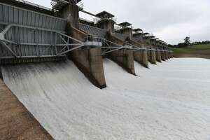 Eleven gates are opened one foot at the Toledo Bend Reservoir to drain some of the water in the lake on Monday. The gates were opened another foot on Tuesday.  Photo taken Monday, February 26, 2018 Guiseppe Barranco/The Enterprise