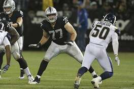 Oakland Raiders tackle Kolton Miller (77) blocks during an NFL football game against the Los Angeles Rams on Monday, Sept. 10, 2018, in Oakland, CA. The Rams won 33-13. (Daniel Gluskoter/AP Images for Panini)
