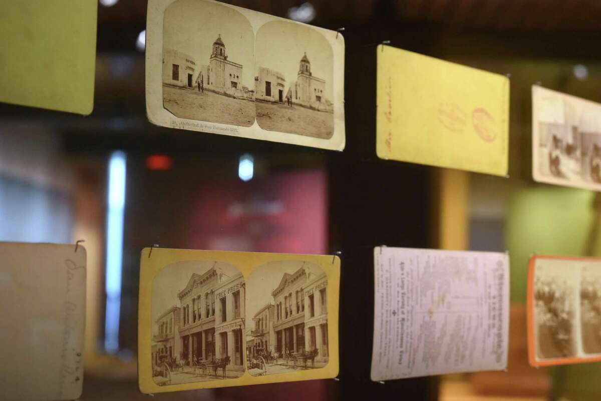 Stereoscope postcards are on display at The Briscoe Western Art Museum as part of the