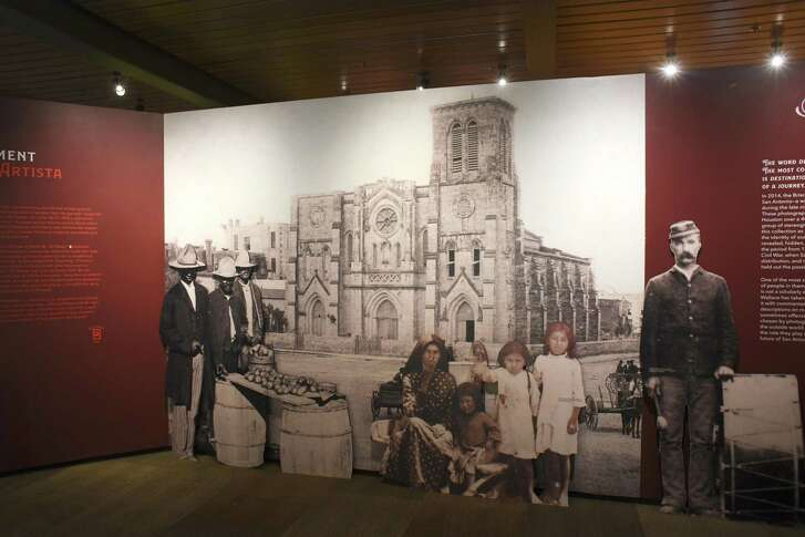 """The first image of the Briscoe Western Art Museum's show """"Destino San Antonio"""" features the plaza in front of San Fernando Cathedral."""