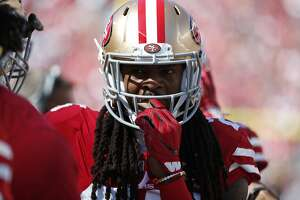 San Francisco 49ers defensive back Richard Sherman during the second half of an NFL football game against the Detroit Lions in Santa Clara, Calif., Sunday, Sept. 16, 2018. (AP Photo/Tony Avelar)