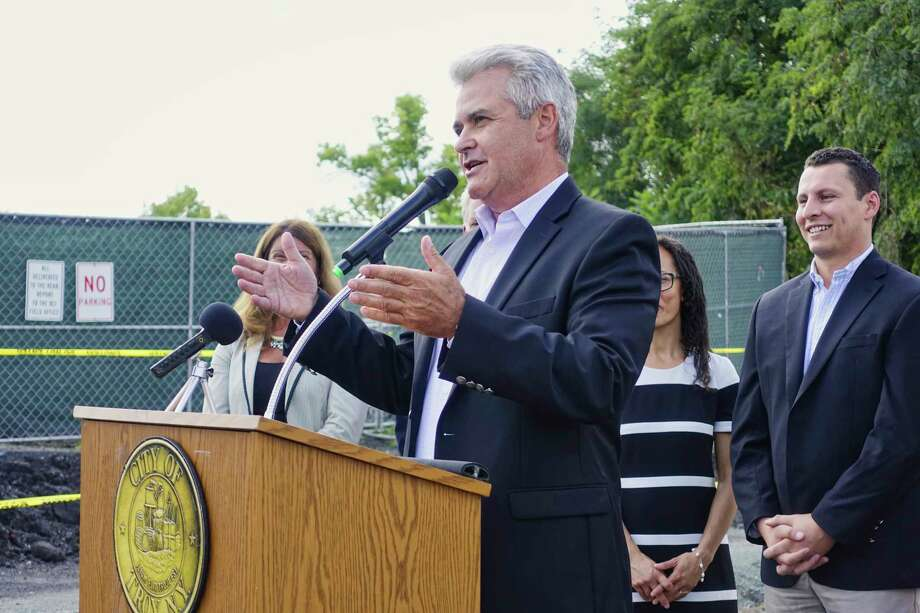 Rensselaer County Executive Steve McLaughlin addresses those gathered for a ground breaking event for the Ingalls Avenue Boat Launch along the Hudson River on Thursday, Sept. 20, 2018, in Troy, N.Y. The launch when completed in 2019, will include a concrete boat launch ramp, floating dock, kayak launch port, with additional boat trailer parking.  (Paul Buckowski/Times Union) Photo: Paul Buckowski / (Paul Buckowski/Times Union)