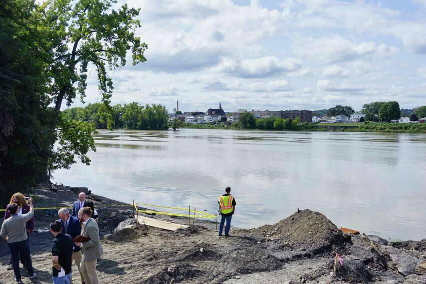 A view looking across the Hudson River from the area where the Ingalls Avenue Boat Launch will be built on Thursday, Sept. 20, 2018, in Troy, N.Y. The launch when completed in 2019, will include a concrete boat launch ramp, floating dock, kayak launch port, with additional boat trailer parking. (Paul Buckowski/Times Union)