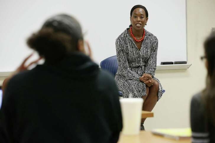 "Margot Lee Shetterly, author of ""Hidden Figures"" listens to a question from a student in an organic chemistry class at St. Philip's College, Thursday, Sept. 20, 2018. Shetterly authored the story that became the blockbuster film about three African-American women who masterminded John Glenn's space orbit."