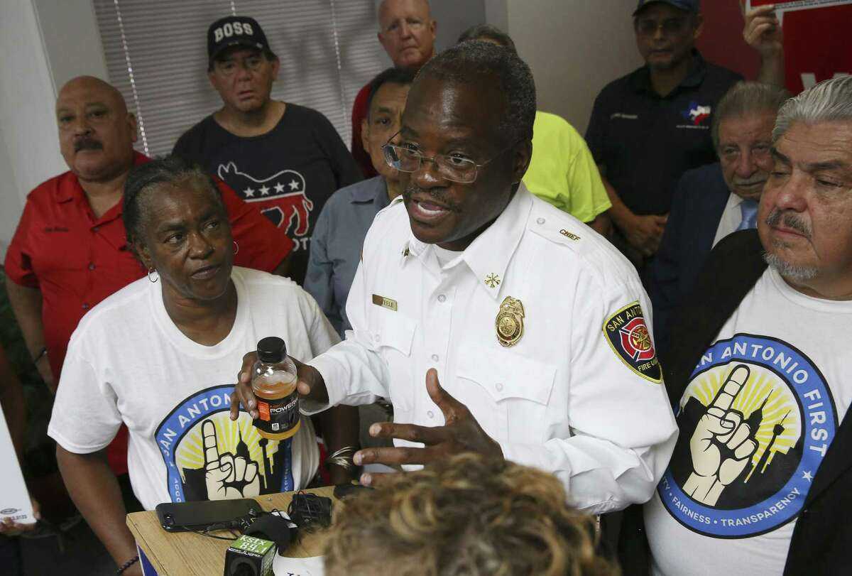 Chris Steele, president of the San Antonio Professional Firefighters Association, speaks after the Bexar County Democratic Party announced its support for City Charter amendments.