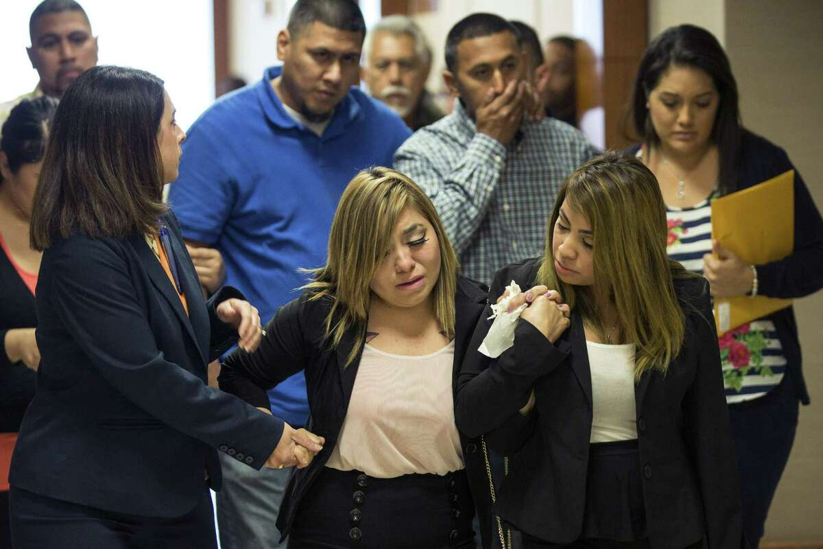 The family of 6-year-old Joshua Medrano leave the courtroom where Blaine Boudreaux made an appearance on charges stemming from a pair of fatal accidents on Wednesday, April 29, 2015, in Houston. Boudreaux is charged with intoxication manslaughter in connection with a wreck that killed Medrano on Sunday. He is also implicated in a fatal wreck hours earlier. ( Brett Coomer / Houston Chronicle )