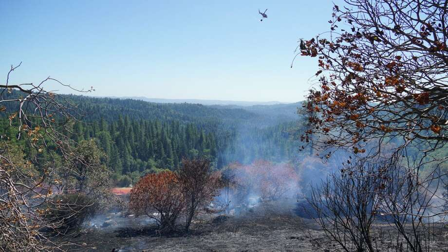 A timber fire broke out 10 miles east of Placerville on Thursday afternoon, briefly shutting down Highway 50 and prompting evacuations, officials said. Photo: Cal Fire