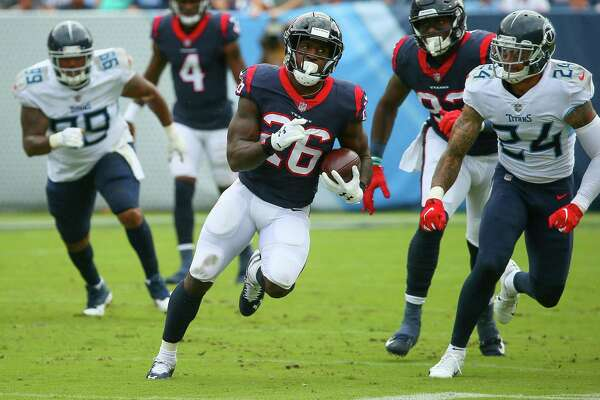 Through the Texans' first two games, Lamar Miller (26) has totaled 166 rushing yards, which ranks fourth in the NFL.