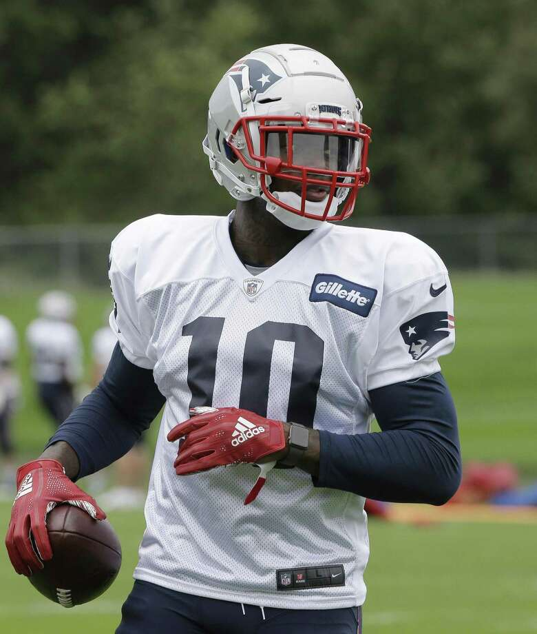 New England Patriots wide receiver Josh Gordon holds the ball during an NFL football practice, Wednesday, Sept. 19, 2018, in Foxborough, Mass. (AP Photo/Steven Senne) Photo: Steven Senne / Associated Press / Copyright 2018 The Associated Press. All Rights Reserved
