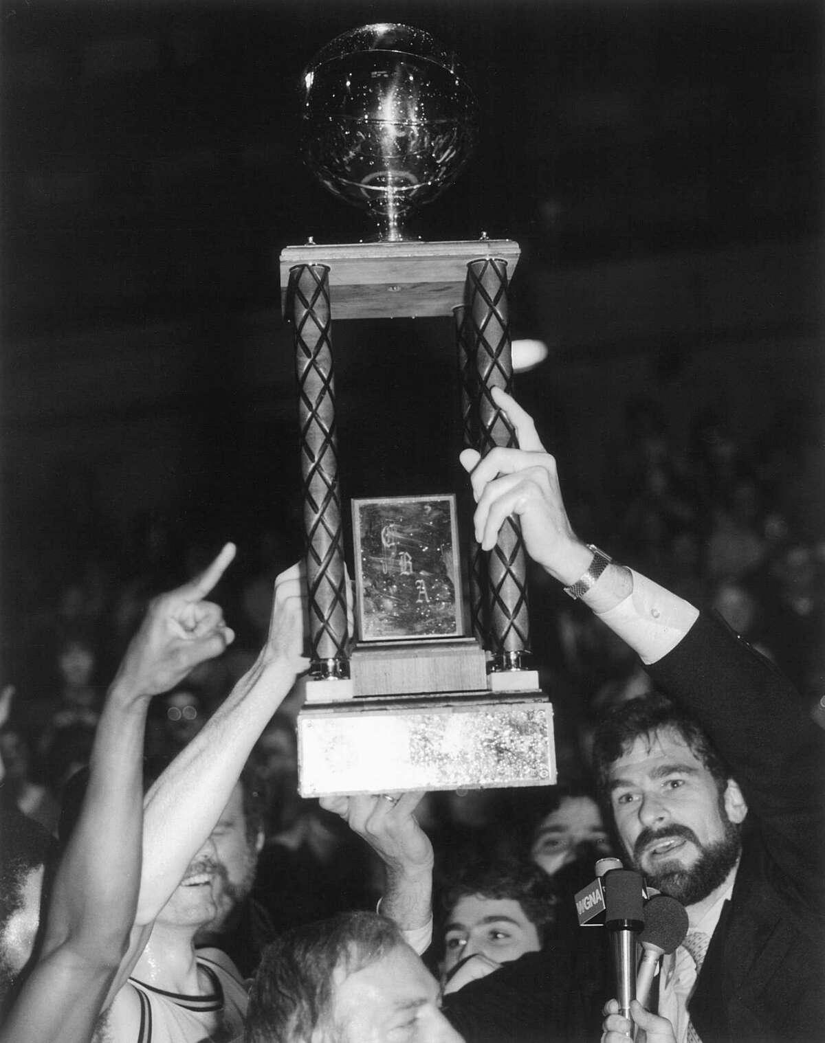 The Albany Patroons' 1984 championship celebration. Coach Phil Jackson is at right. (Steve Twardzik/Albany Patroons)