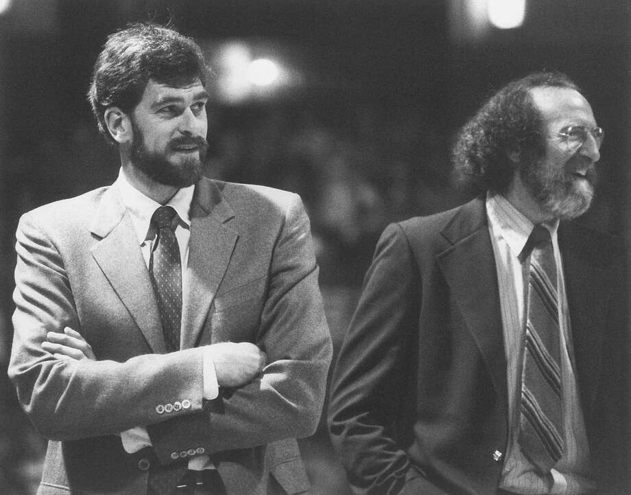 Former Albany Patroons coach Phil Jackson, left, and his assistant, Charley Rosen. (Steve Twardzik/Albany Patroons)