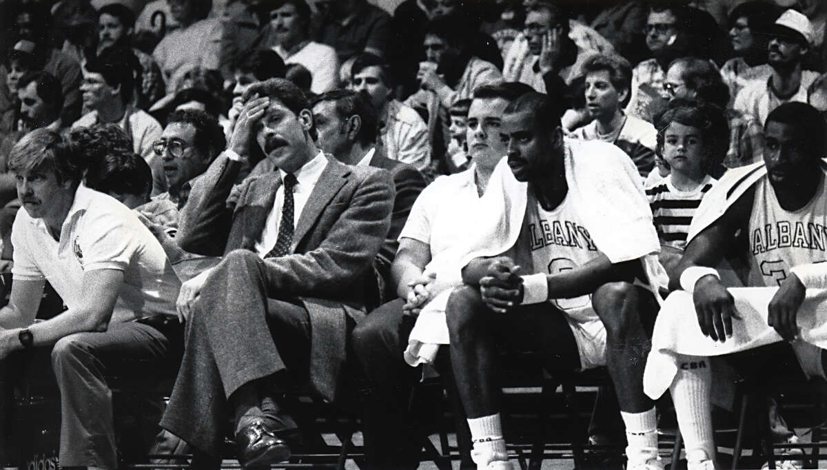 Phil Jackson wipes his forehead during an Albany Patroons basketball game in Albany, NY. (Times Union archive)