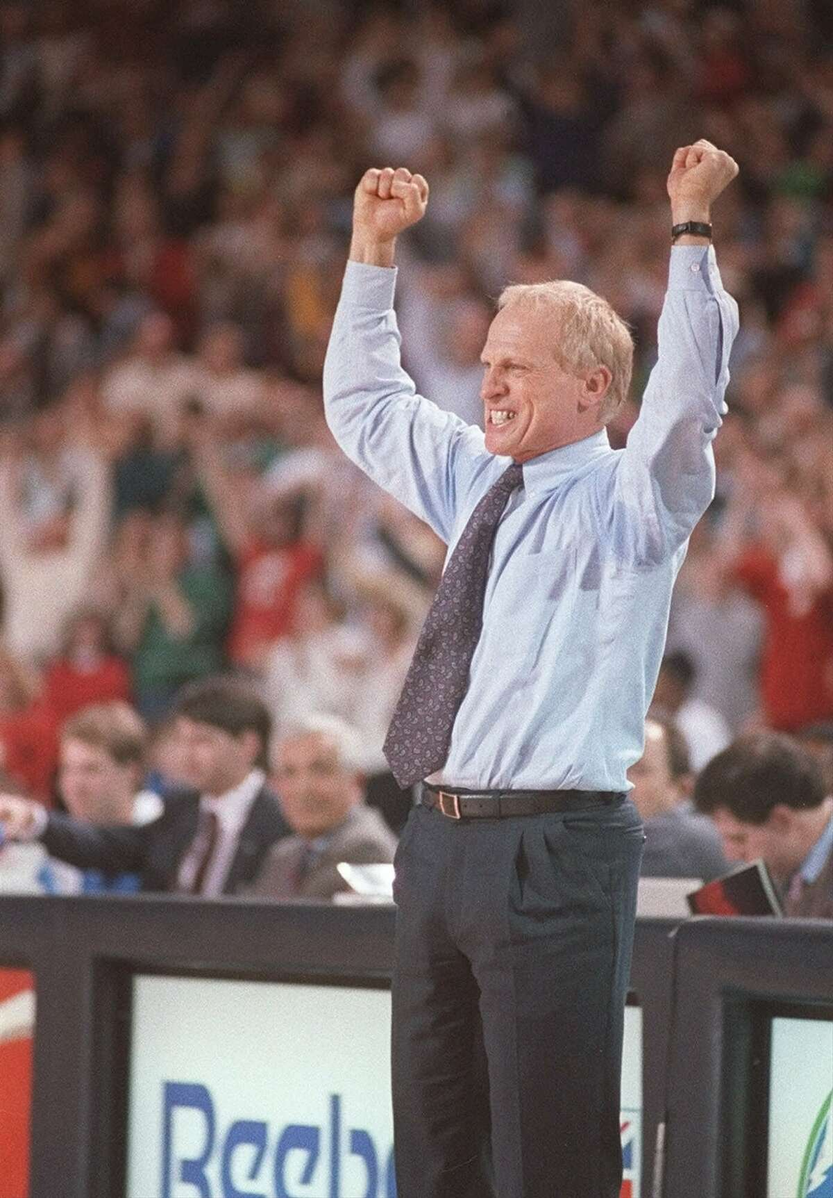 FILE--Bill Musselman cheers as he watches his Minnesota Timberwolves go on to beat the Philadelphia 76ers,125-118, in overtime in November 1989. Musselman, whose competitive spirit helped boost basketball interest and the drive for a professional team in Minnesota, died early Friday morning, May 5, 2000, from cancer related complications. He was 59. (AP Photo/St. Paul Pioneer Press, Scott Takushi, File)