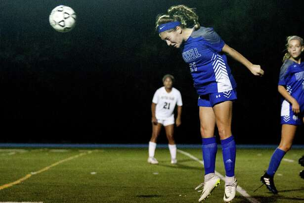 Bunnell's Mia DiPronio heads the ball during girls soccer action against Notre Dame of Fairfield in Stratford, Conn., on Thursday Sept. 20, 2018.