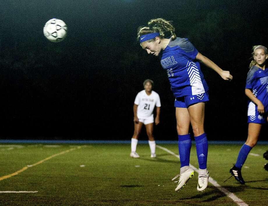 Bunnell's Mia DiPronio heads the ball during girls soccer action against Notre Dame of Fairfield in Stratford, Conn., on Thursday Sept. 20, 2018. Photo: Christian Abraham / Hearst Connecticut Media / Connecticut Post