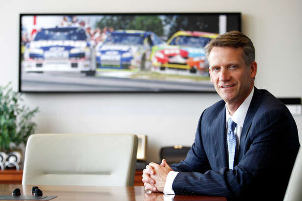 FILE - This is an Oct. 20, 2010, file photo showing Steve Phelps, chief marketing officer for NASCAR, at NASCAR headquarters in Charlotte, N.C. NASCAR promoted Steve Phelps to president on Thursday, Sept. 20,2018, in the latest leadership change for the slumping motorsports series. Phelps will replace Brent Dewar on Oct. 1. Dewar is stepping down and transitioning to an advisory role next year. (AP Photo/Nell Redmond, File)
