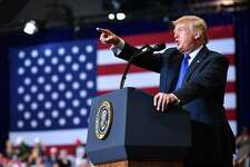 """US President Donald Trump speaks during a """"Make America Great Again"""" rally in Las Vegas, Nevada on September 20, 2018. (Photo by MANDEL NGAN / AFP)MANDEL NGAN/AFP/Getty Images"""