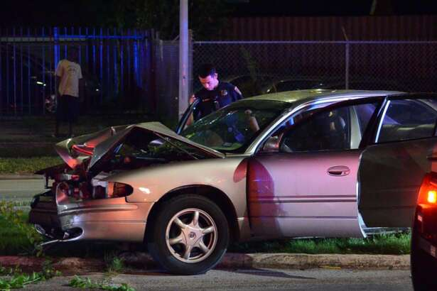 A short police pursuit ended in a violent crash on Houston's southeast side Thursday night, sending at least one suspect to the hospital.