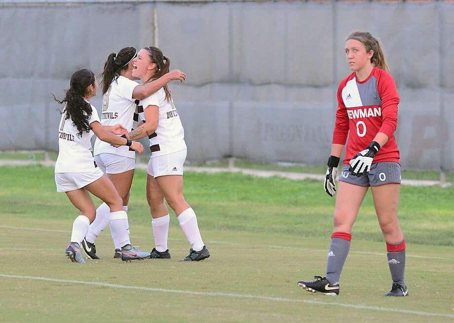 TAMIU forward Cio Bargallo celebrates with her teammates after scoring a goal against Newman University Thursday, September 20, 2018 at the TAMIU Soccer Field. Photo: Cuate Santos /Laredo Morning Times File / Laredo Morning Times