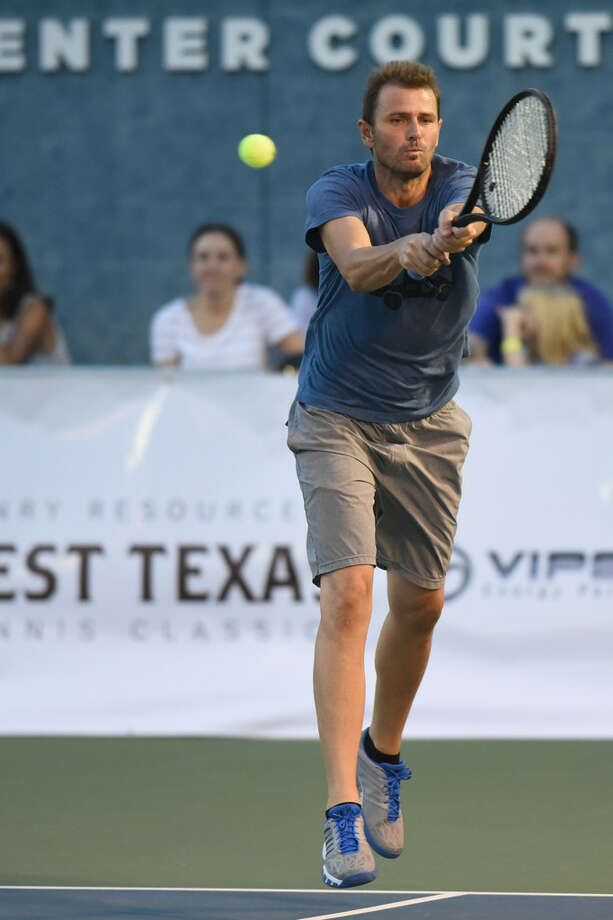 Mardy Fish returns a serve during the annual pro tennis exhibition Sept. 20, 2018, at Bush Tennis Center.