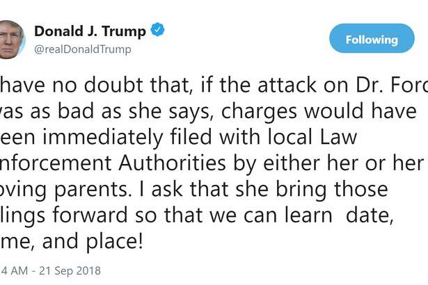 """President Donald Trump is challenging by name the woman accusing his Supreme Court nominee of sexual assault, saying if the attack she alleges were that """"bad"""" then she would have filed charges."""
