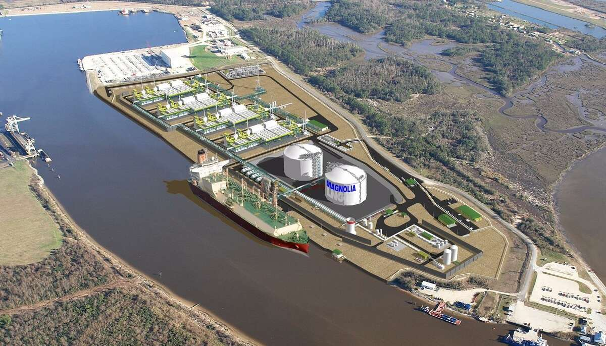 A rendering ofa $4.3 billion Magnolia LNG project that Liquefied Natural Gas Ltd. plans to build on 115 acres south of Lake Charles, Louisiana along the Calcasieu Ship Channel. The goal is to export up to 8 million metric tons of LNG annually.Louisiana state leaders gave Magnolia LNG a multimillion tax break.