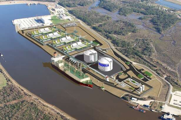 A rendering of a $4.3 billion Magnolia LNG project that Liquefied Natural Gas Ltd. plans to build on 115 acres south of Lake Charles, Louisiana along the Calcasieu Ship Channel. The goal is to export up to 8 million metric tons of LNG annually