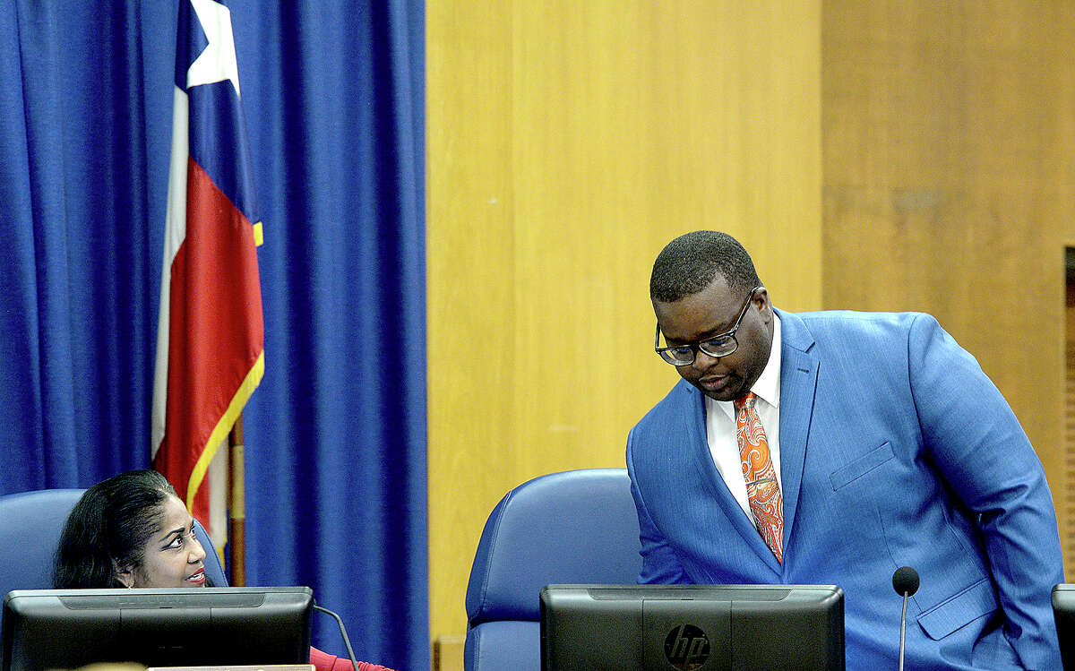 Alexandrew Seale takes his seat after being sworn in by Judge John Stevens during the BISD board meeting at the administration building Thursday. Seale will fill the vacancy left by board of managers president Joe Domino, who resigned in June. Thursday, September 20, 2018 Kim Brent/The Enterprise