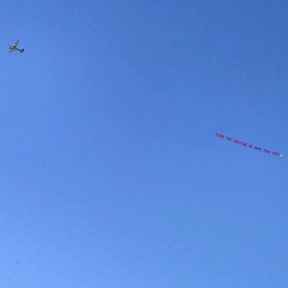 """The national women's advocacy organization UltraViolet sponsored a plane to fly over Palo Alto with a sign reading """"Thank you Christine. We have your back."""" Sept. 20, 2018 Photo: Courtesy Ultra Violet"""