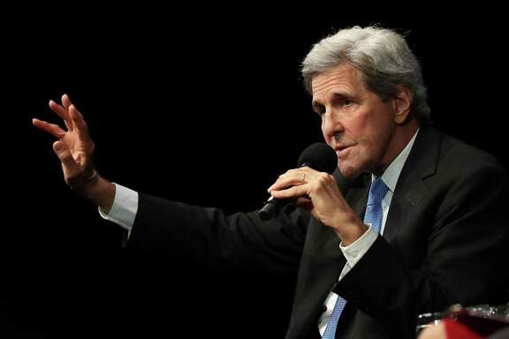 Former U.S. Secretary of State John Kerry speaks during a Commonwealth Club of California event at the Marines' Memorial Theatre in San Francisco