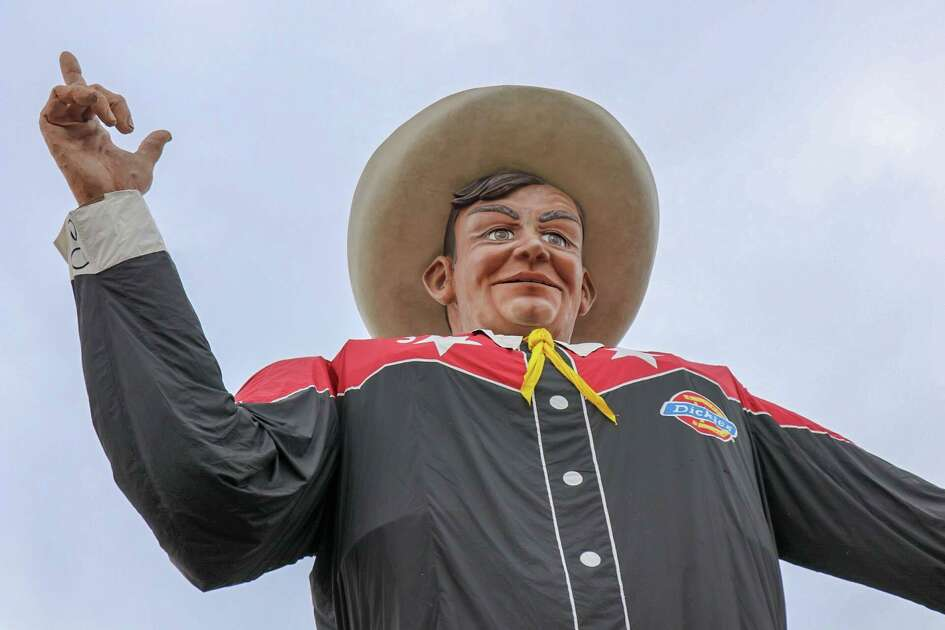 Big Texas, the mascot of the State Fair of Texas, was installed for the coming season on Friday, Sept. 21, 2018 at Dallas' Fair Park.