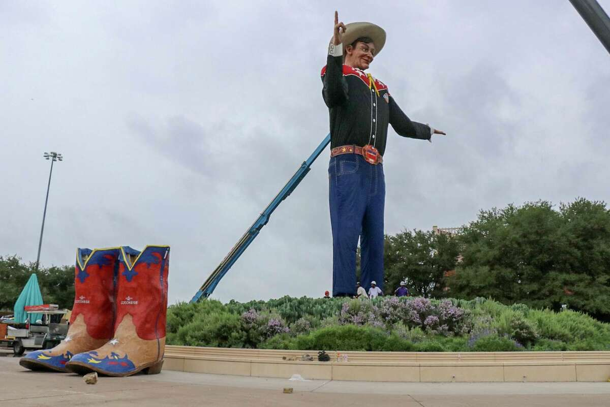 Lucchese Boots brought a new pair of cowboy boots to Big Tex on Friday morning.