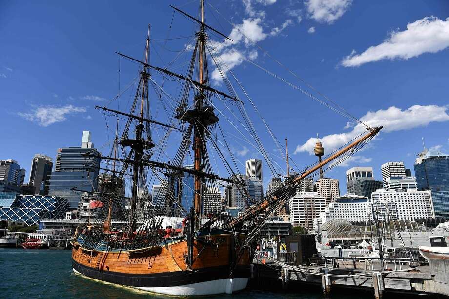 A replica of Captain Cook's ship Endeavour is on display at a maritime museum in Sydney, Australia. Photo: Saeed Khan / AFP / Getty Images