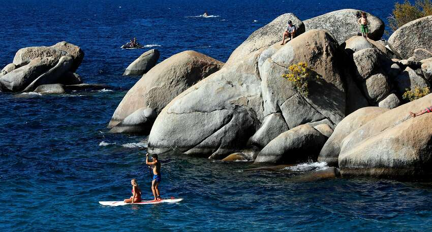 Paddle boarders at Sand Harbor State Park in Tahoe, Nv., as seen on Fri. Sept. 7, 2018.