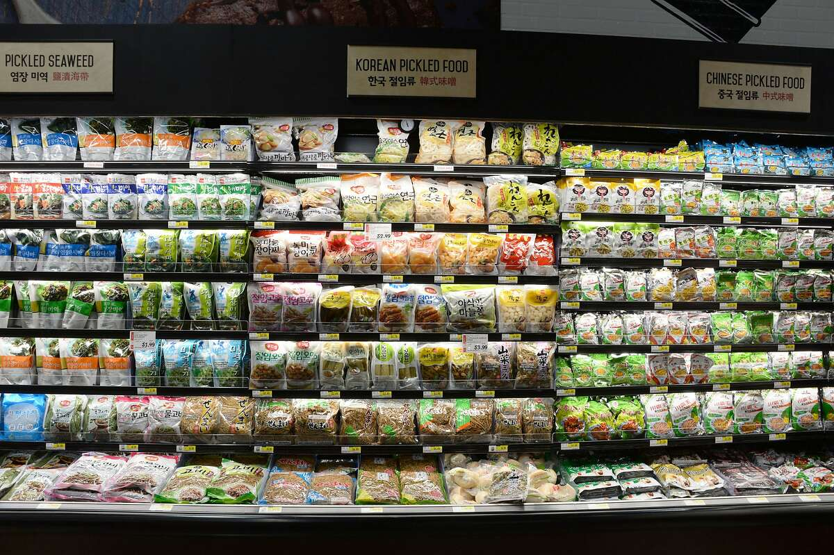 A grocery aisle in the H Mart in Katy, Texas. The grocery chain is opening in San Francisco next week.