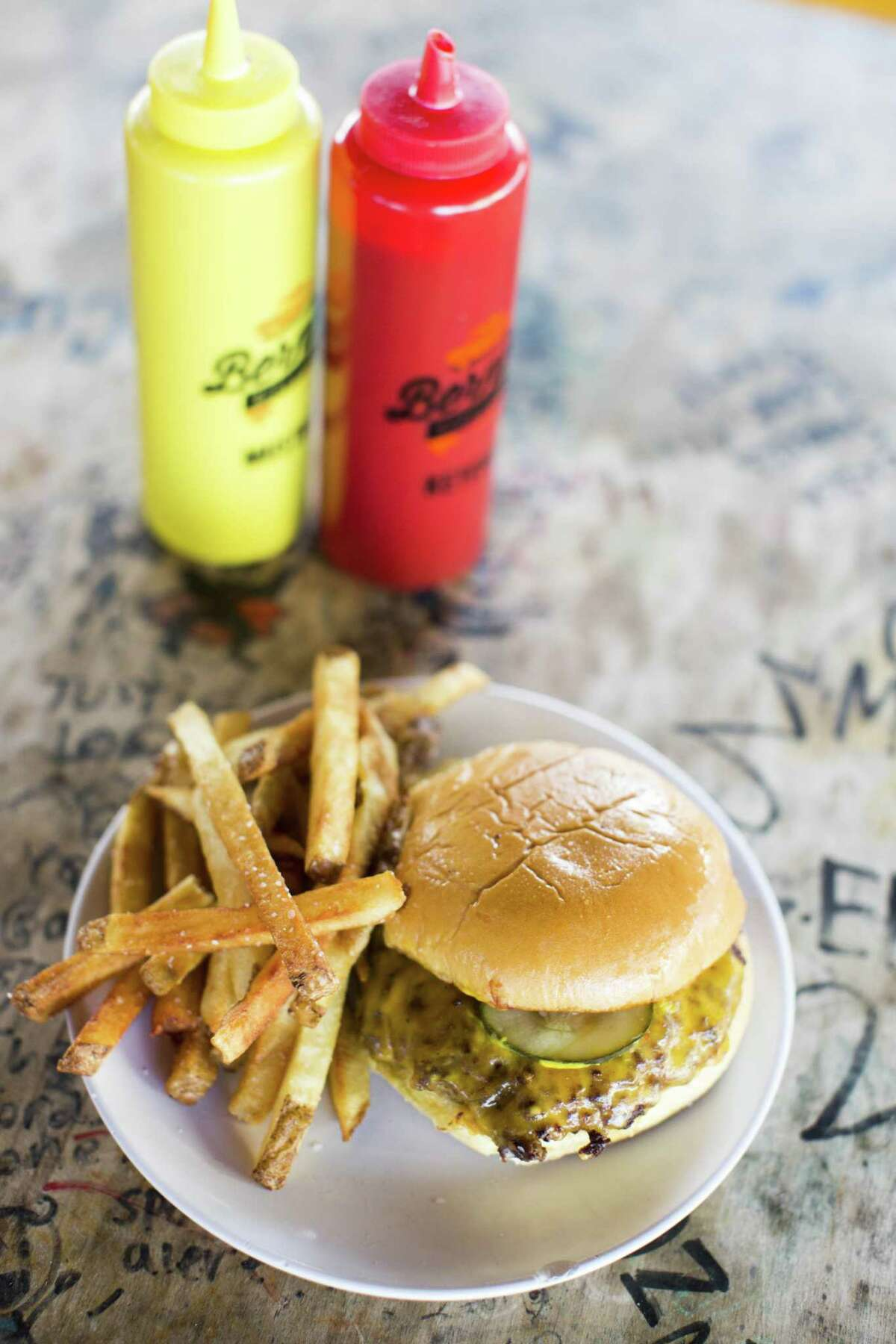 The First Grader burger and hand-cut fries at Bernie's Burger Bus