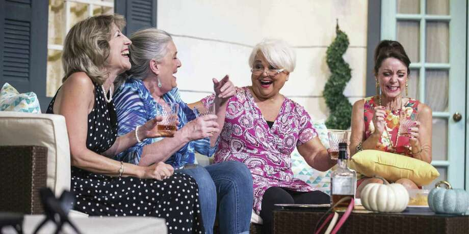 "Pictured from left are Carolyn Corsano Wong, Lisa Schofield, Martha Davis and Cheryl Campbell in Stage Right's ""The Savannah Sipping Society."""