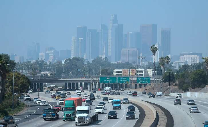 Highrise buildings in downtown Los Angeles, California are seen on on a hazy morning on September 21, 2018. - Eight-seven days of smog this summer has made it the longest stretch of bad air in at least 20 years, according to state monitoring data, the latest sign Southern California's efforts to battle smog after decades of dramatic improvement are faltering. (Photo by Frederic J. BROWN / AFP)FREDERIC J. BROWN/AFP/Getty Images